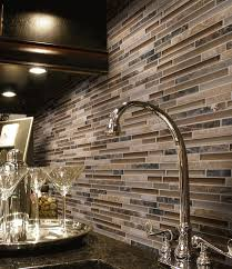 Inspiring Kitchens Linear Glass And Stone Mosaic Backsplash At - Linear tile backsplash