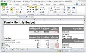 Excel Home Budget Template Household Budget Template Worksheet For Excel