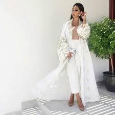 abaya wedding dress qabeela bridal abaya in white embroidered with matt gold