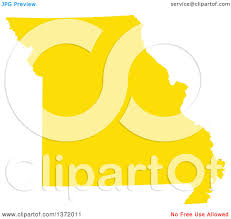 Map Of The State Of Missouri by Clipart Of A Yellow Silhouetted Map Shape Of The State Of Missouri