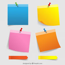 stick paper colorful paper notes with thumbtacks vector free download