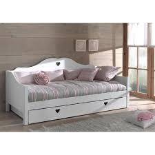 lit canape canapé lit princesse 1place mdf blanc cœur achat vente canapé