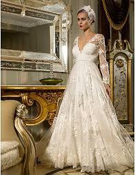 petra wedding dress lace vintage a line v neck floor length satin