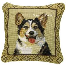 tri color corgi needlepoint pillow corgi gifts pillows