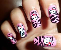 cute hello kitty in pink zebra nails nail art gallery