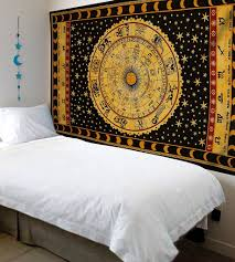 black and yellow zodiac tapestry hippie dorm astrology wall hanging