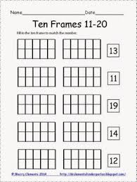 kindergarten ten frame teen number worksheets math pinterest