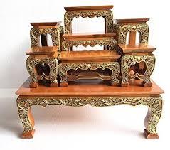 Thailand Home Decor Medium Size Home Decor Thai Wood Carving Buddha Table Set Shelf