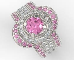 pink wedding rings filigree pink sapphire and diamond trio wedding band set vidar