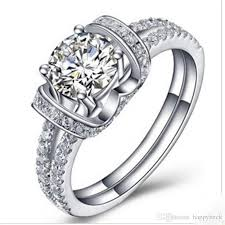 engagement marriage rings images Romantic marriage ring 1ct round cut synthetic diamond wedding jpg
