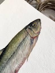 original oil painting of a smelt fish art nautical art beach