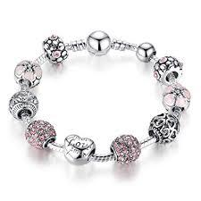 silver beaded charm bracelet images Bamoer beaded charm bracelet amor love heart crystal jpg