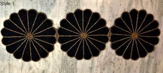 hand beaded table runners black and gold white silver hand made beaded table runne at rs