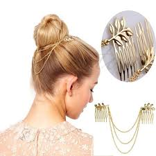 hair cuff womens personality golden tone leaf hair cuff chain comb headband