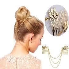 hair cuff womens personality golden tone leaf hair cuff chain comb headband