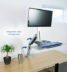 Stand Or Sit Desk by Stand Sit1s Vivo Single Monitor U0026amp Keyboard Counterbalance Sit
