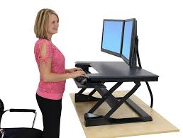 Ergotron Sit Stand Desk Edw 4202d Ergodirect Dual Monitor Sit Stand Desktop Workstation Black