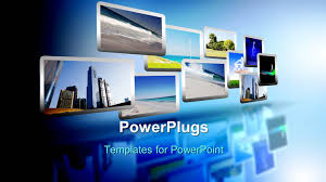 powerpoint template technology words and abstract forms on the