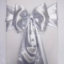 silver chair sashes silver satin chair sash wedding party supply bows tie decor