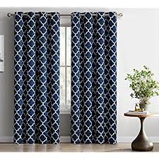 Navy Blue Curtains Hlc Me Lattice Print Thermal Insulated Room Darkening