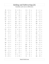 Math Worksheets For First Grade 100 Horizontal Addition Subtraction Questions Facts 0 To 9 A