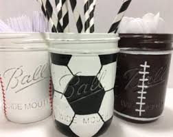 Sports Home Decor Hand Painted Baseball Birthday Decor Baseball Mason Jars Set