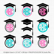 buy graduation cap buy 2 get 1 free digital clipart graduation cap monogram