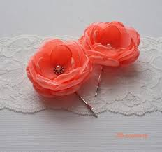coral small fabric flowers hair pins grips shoe