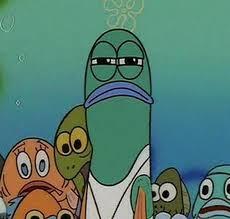Squinty Eyes Meme - serious fish spongebob meme generator