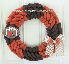 cleveland browns burlap wreath w chevron bow and wooden