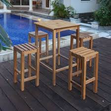 high table with stools garden teak bar high table and 4 matching stools free uk delivery