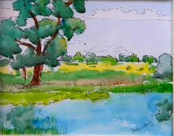 oak pond and field watercolor sketch