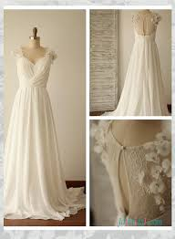 flowy wedding dresses h1534 simple illusion lace back chiffon flowy wedding dress