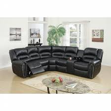 Upholstered Sectional Sofas Amb Furniture 3 Pc Collette Collection Black Bonded Leather
