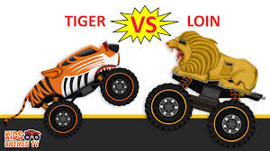 monster truck racing video lion monster truck vs tiger monster truck monster trucks racing