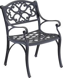 Black Cast Aluminum Patio Furniture Biscayne 42 Inch Cast Aluminum Outdoor Dining Set With 4 Arm