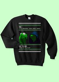 Sweater Meme - evil kermit meme ugly christmas sweater kippcreations