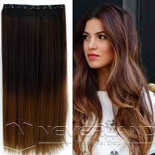 light brown hair piece 24 one piece clip in straight synthetic dip dye ombre hairpiece