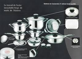 cuisine en batterie de cuisine batterie de cuisine dietetique table des chefs 21 pieces