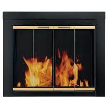 arrington large glass fireplace doors