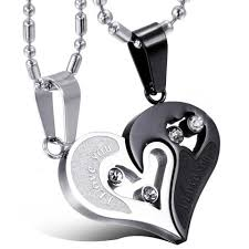steel heart necklace images Boniskiss valentine love gifts 2pcs his and hers heart stainless steel jpg