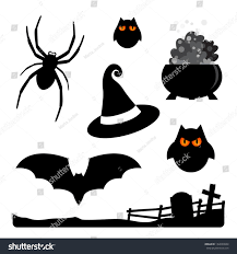 halloween elements spider owls witch hat stock vector 152699864