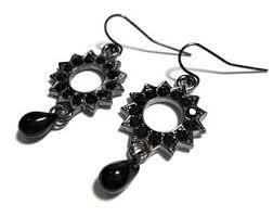 Black And Silver Chandelier Earrings Black Boho Earrings Etsy