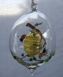 bee hive w bee glass ornament made in germany beehive