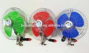 plug in car fan colorful mini dc 24v fan with cigarette plug car fan 6 inch 12v