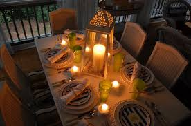 beach themed tablescape setting with a lighthouse style lantern