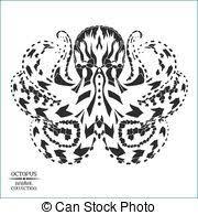 kraken sketch illustration kraken decorative emblem with clip