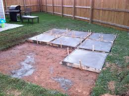 Backyard Cement Patio Ideas Diy Backyard Patio Poured Concrete Into Each Frame Outdoor