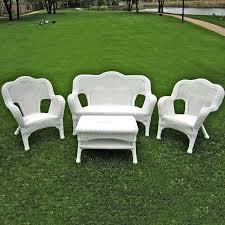 White Resin Outdoor Furniture by International Caravan Madison Wicker Resin Patio Conversation Set