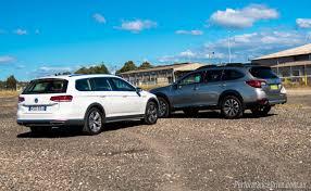 subaru outback black 2016 2016 subaru outback vs volkswagen passat alltrack comparison